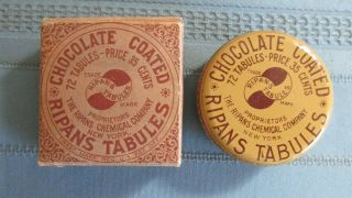 Ripans Chocolate Coated Tabules Tin With Box - 1920 ' S Era - Tin photo