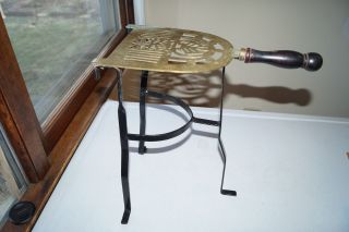 Vintage 1920 ' S Hand Forged Brass And Wrought Iron Fireplace Trivet Stand photo