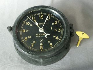 Vintage Navy Ship Clock Wwii Chelsea Clock Co Boston W/ Replacement Key photo