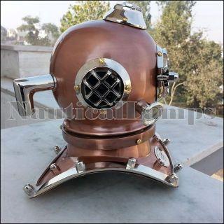 Copper Antique Diving Divers Helmet Nickel Brass Mini Dive Helmet Gift photo