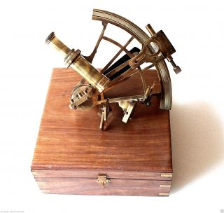 Vintage Heavy German Model Sextant Marine Sea Nautical Gift Collectible photo