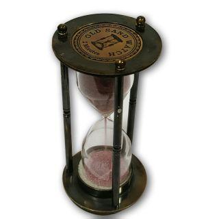 Antiquated Solid Brass Desk Décor Hourglass Old Sandtimer Clock St 017 photo
