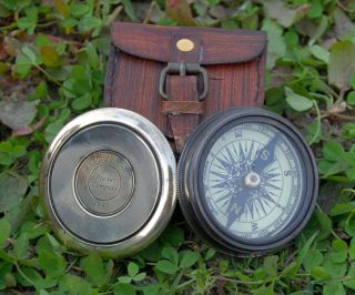 Vintage Robert Frost Brass And Copper Poem Compass With Leather Case. photo