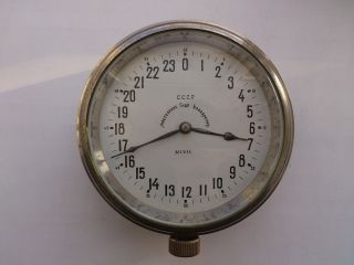 Henry Moser Rare Ussr Vintage Submarine Brass Wall Clock 24 - Hour Dial photo