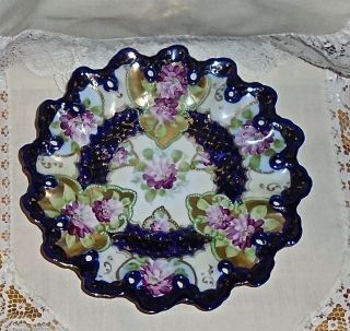 Antique Decorative Colbolt Blue Hand Painted Plate With Flowers And Guided Trim. photo