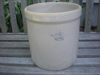 Vintage 3 Gallon Blue Crown Robinson Ransbottom? Stoneware Crock photo
