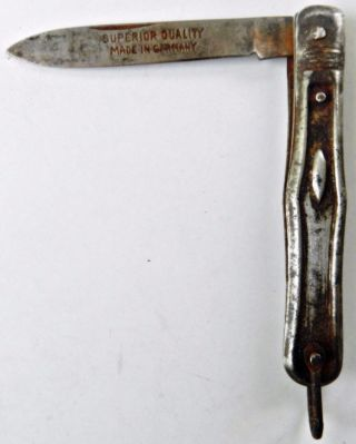 1900s Germany Antique Hand Crafted Engraved Iron Pocket Knife photo