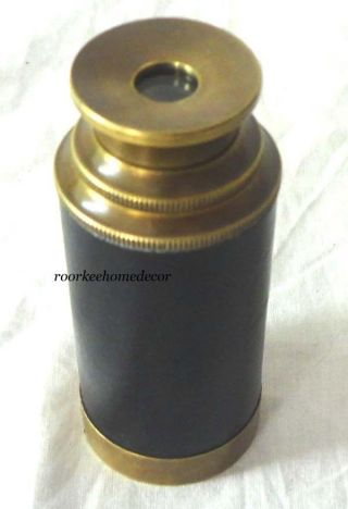 Collectible Antique Finish Brass Telescope With Stylish Wooden Box photo