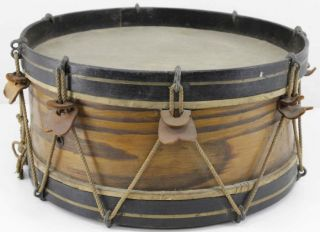 Antique Unmarked Rope Tension Snare Drum,  1890s To The Turn Of The Century photo