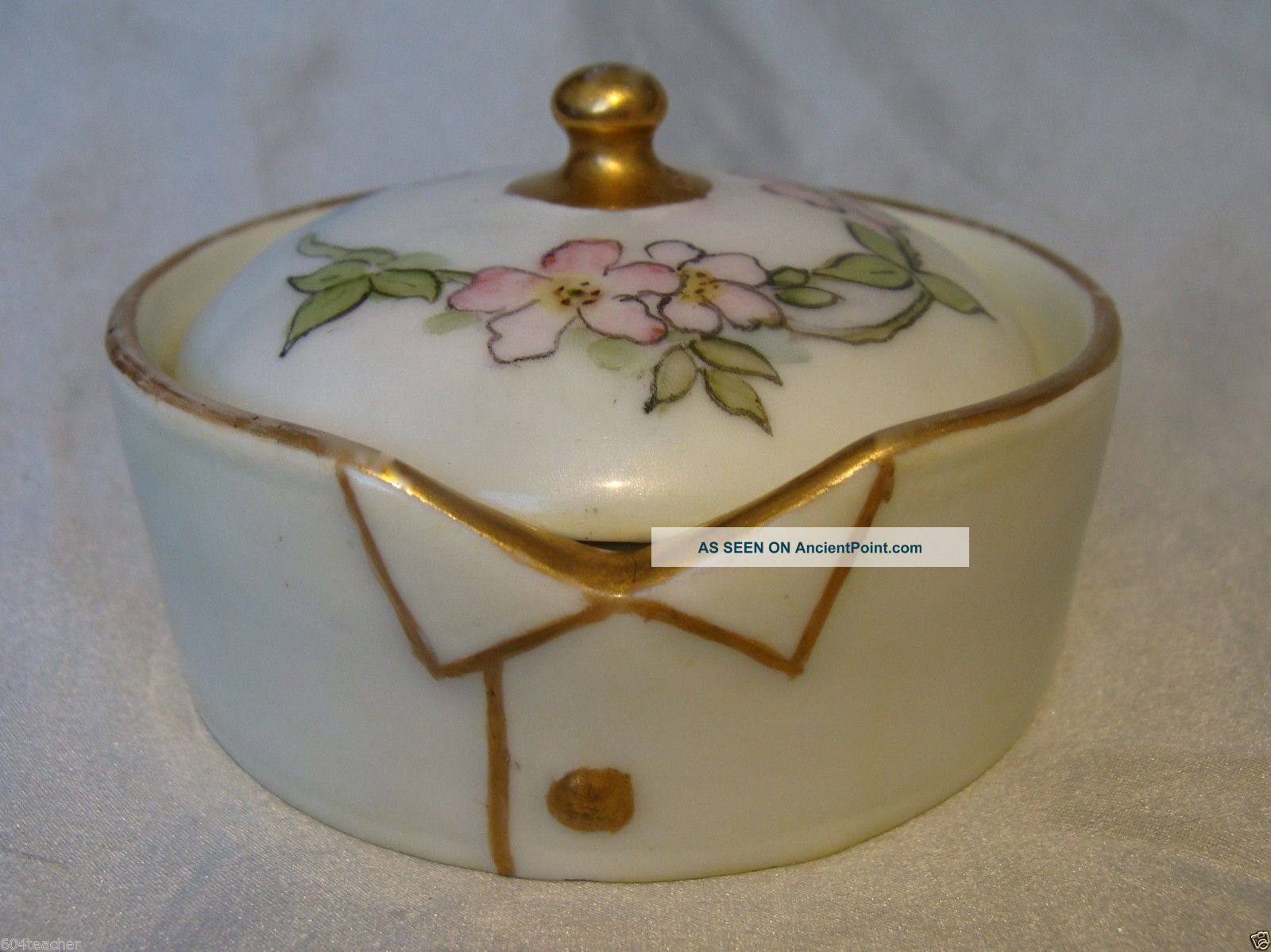 Larger Germany Hand Painted Porcelain Stud Collar Button Box German Rosenthal Baskets & Boxes photo