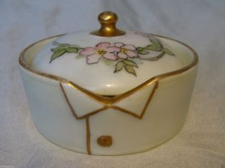 Larger Germany Hand Painted Porcelain Stud Collar Button Box German Rosenthal photo