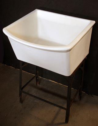 Vintage Antique Solid Porcelain Bowl Basin Kitchen Bathroom Laundry Utility Sink photo