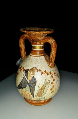 Hand Made Museum Copy Ceramic Vase Classical Period 600 B.  C Figure,  Bird W Seal photo