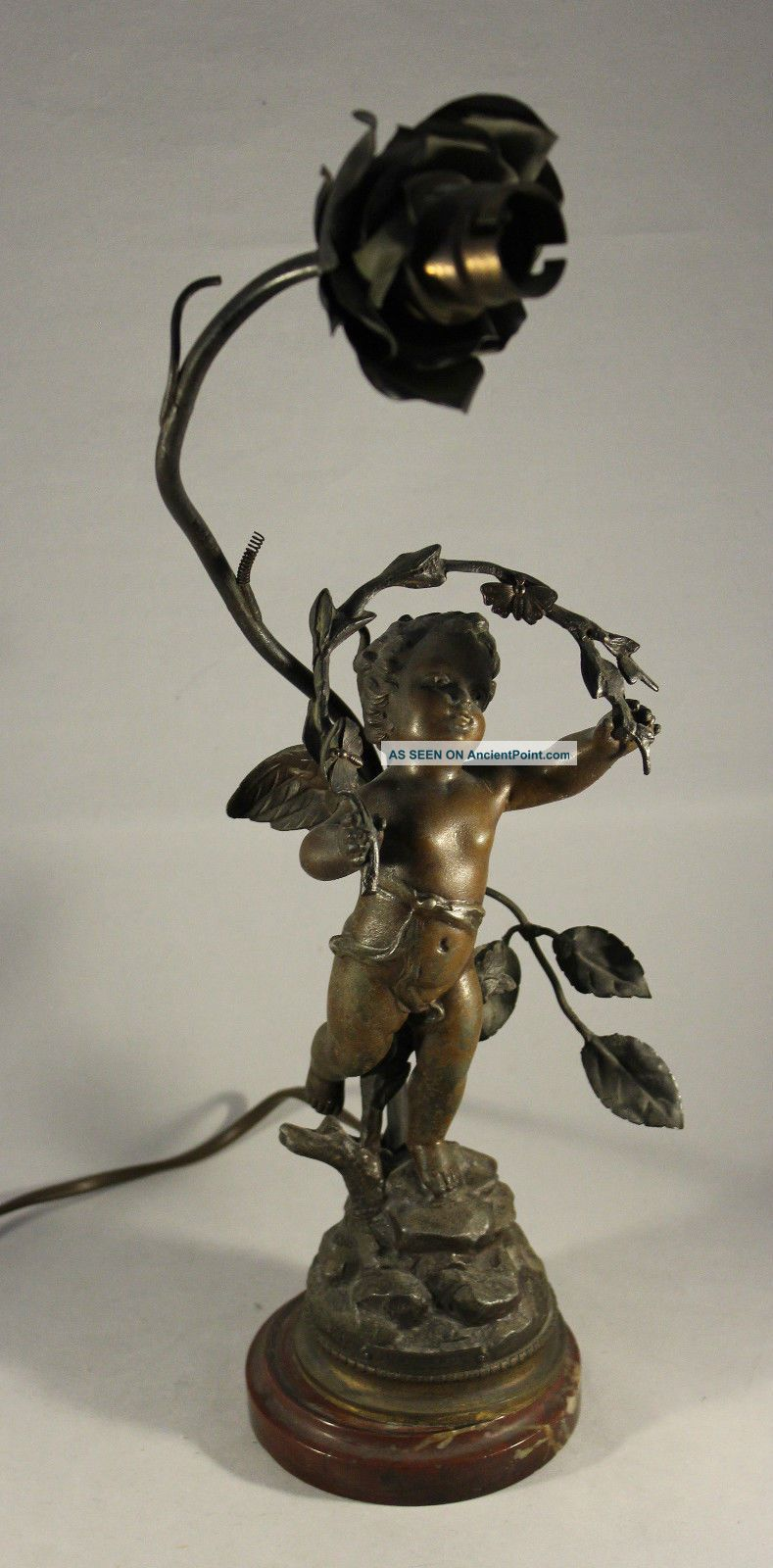 Antique Bronzed Spelter Cherub Lamp Innocence By Kossowski On Marble Plinth Edwardian (1901-1910) photo