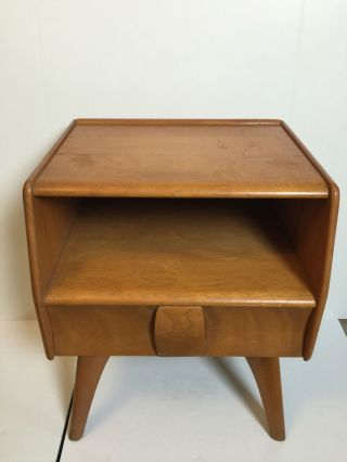 Vintage 1950s Heywood Wakefield Kohinoor Night Stand Wheat Finish Atomic Age photo