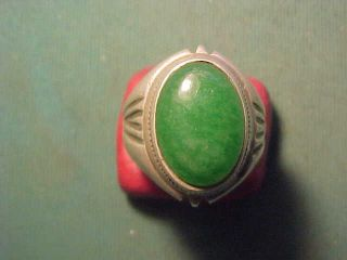 Near Eastern Hand Crafted Solid Silver Ring With Green Stone Circa 1700 - 1900 photo
