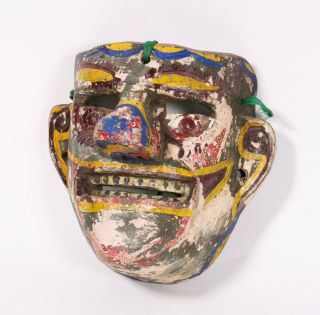 Antique Puebla Mexican Wood Carnival Mask photo