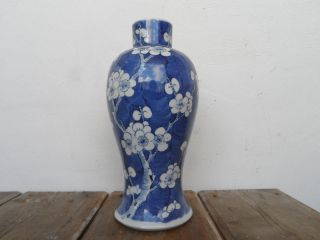 Antique Chinese Porcelain Blue And White Prunus Vase - Kangxi 4 Character Mark photo