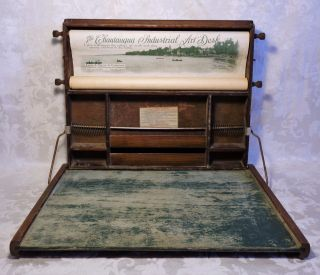 Chautauqua Industrial Art Desk Childrens Home Schooling Educational Litho Scroll photo
