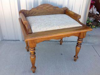 Vintage Solid Oak Stool Bench Vanity Antique Wood Wooden photo