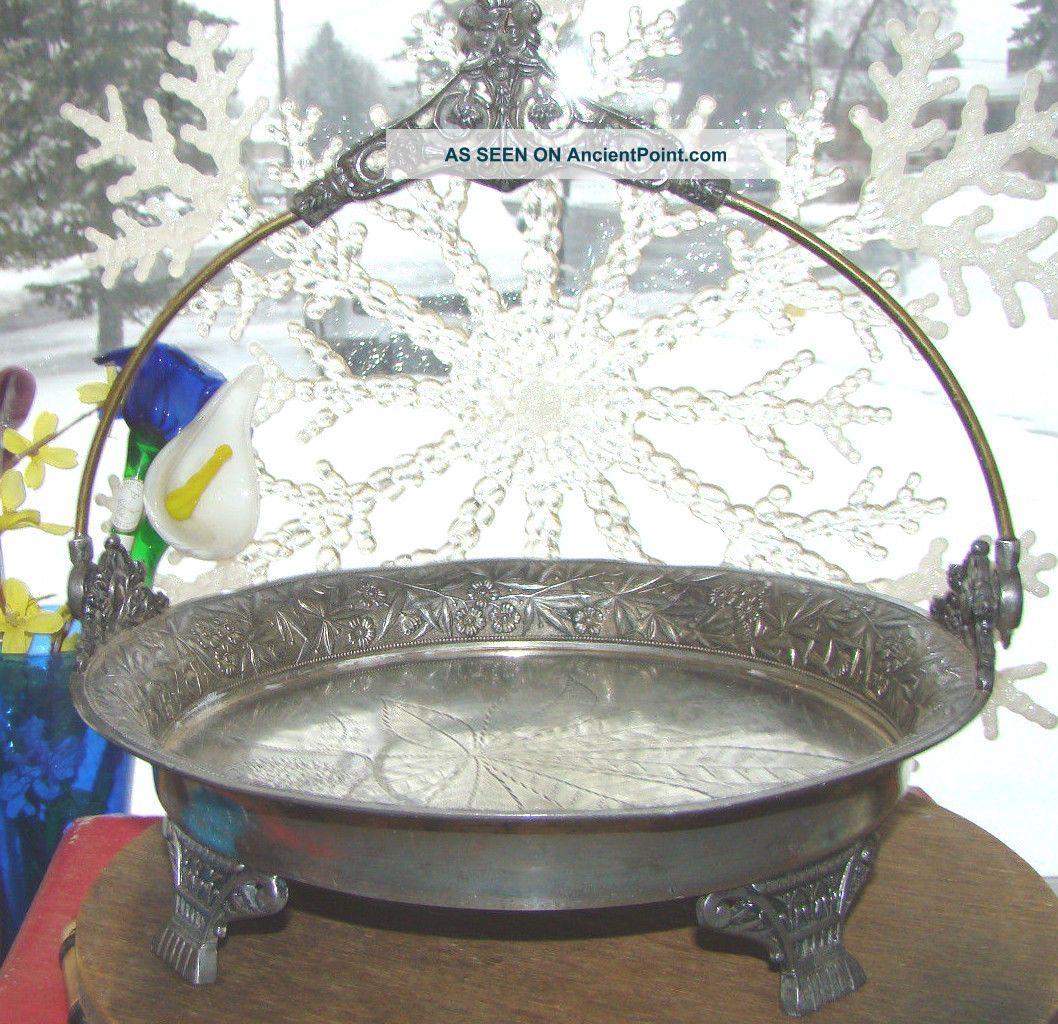 Antique Victoiran Quadruple Silver Plate Brides Bridal Cake Footed Handle Basket Baskets photo
