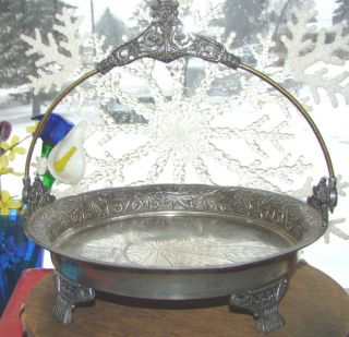 Antique Victoiran Quadruple Silver Plate Brides Bridal Cake Footed Handle Basket photo