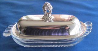 1847 Rogers Bros Eternally Yours Silver Plate Butter Dish Duncan Miller Teardrop photo