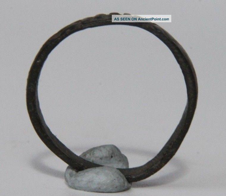 Medieval Byzantine Period Bronze Ring With Monogram