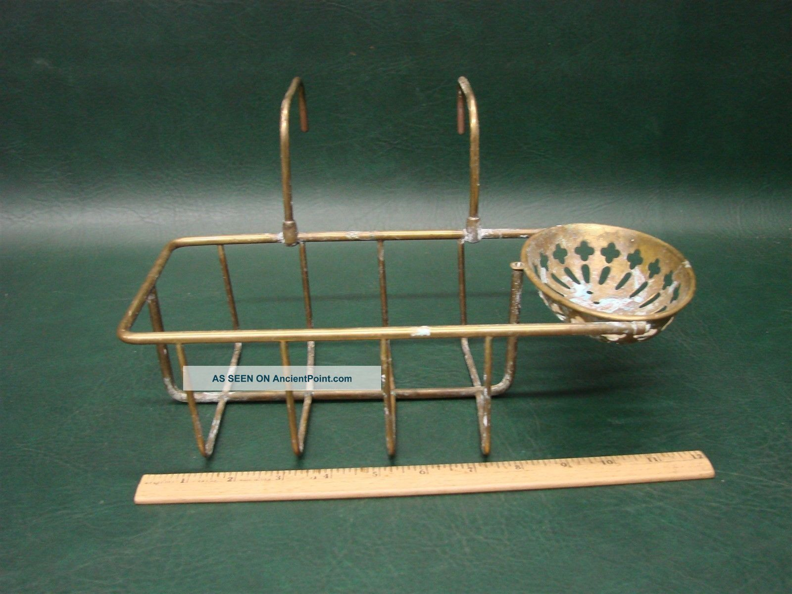 Antique Brass Soap Dish Holder Over The Side Rack Shelf For Claw Foot Bathtub Bath Tubs photo