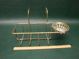 Antique Brass Soap Dish Holder Over The Side Rack Shelf For Claw Foot Bathtub photo