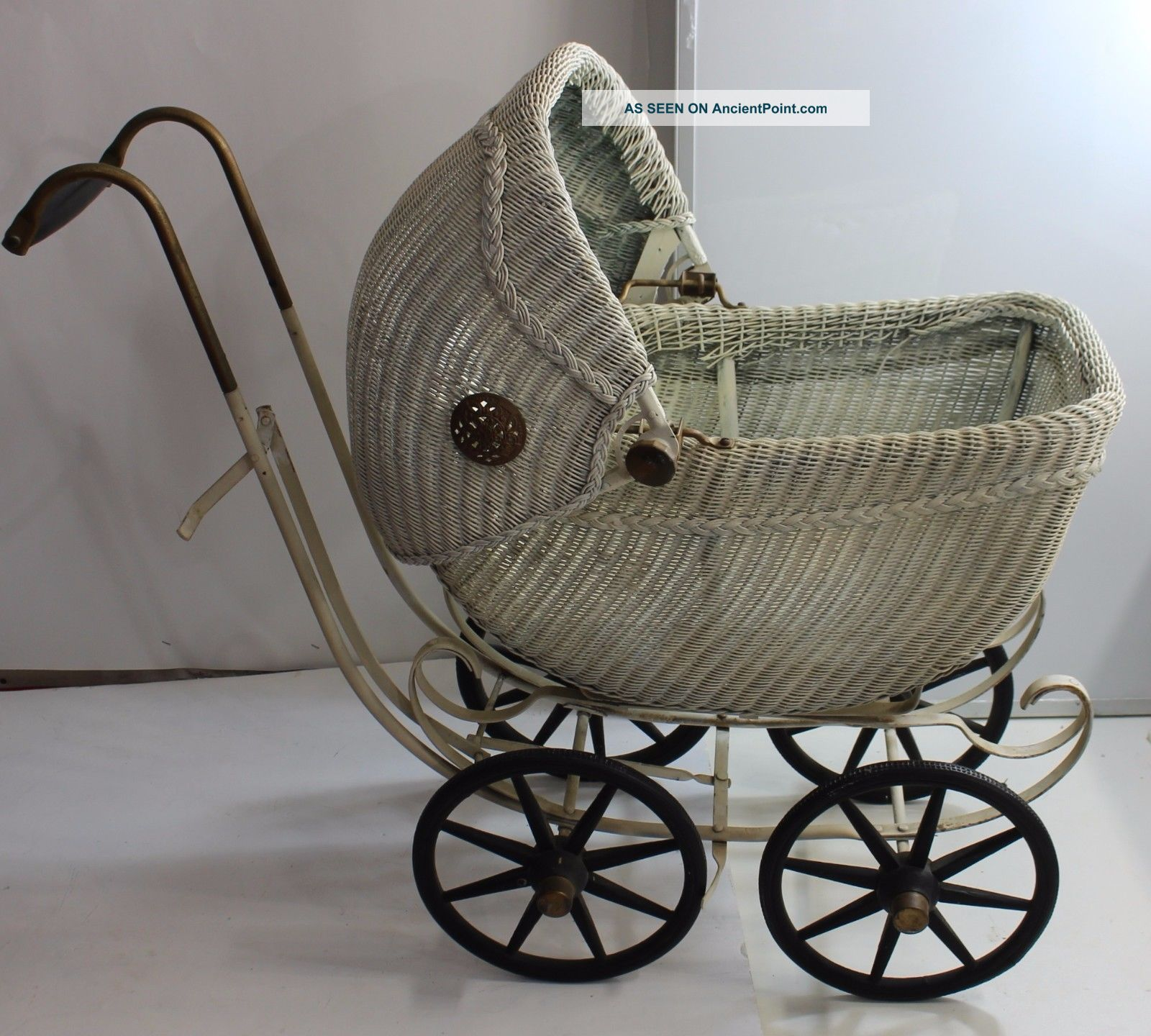 For Lovinb3 - Doll Carriage Stroller Pram - Wicker Metal Rubber Wheels Baby Carriages & Buggies photo
