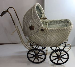 For Lovinb3 - Doll Carriage Stroller Pram - Wicker Metal Rubber Wheels photo