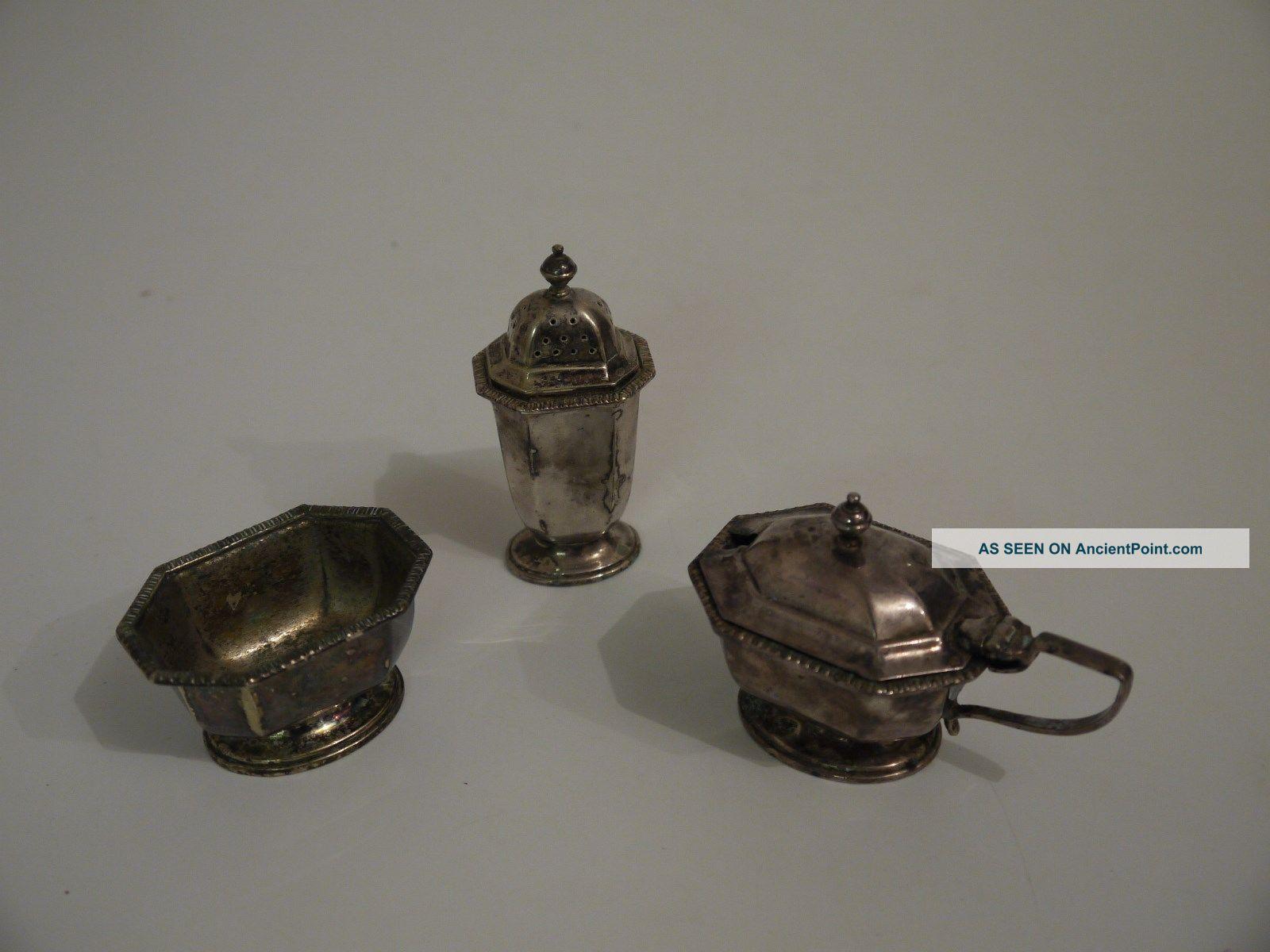 Regent Plate - Salt Cellar,  Pepper Pot & Mustard Pot (ms 7) Salt & Pepper Cellars/Shakers photo