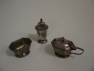 Regent Plate - Salt Cellar,  Pepper Pot & Mustard Pot (ms 7) photo