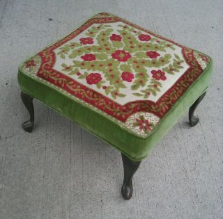 Mid Century Vintage Crawford Stool W Metal Legs Velvet Footrest Stool photo