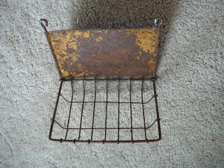 Antique Wire & Steel Wall Mount Wash Sink Soap Sponge Holder - Shabby Chic photo
