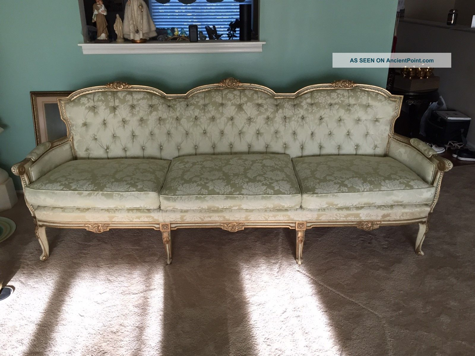 Vintage Tufted French Provincial Sofa 1900-1950 photo