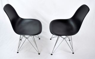Pair Eames Mid Century Modern Herman Miller Plastic Side Chair Eiffel Base photo
