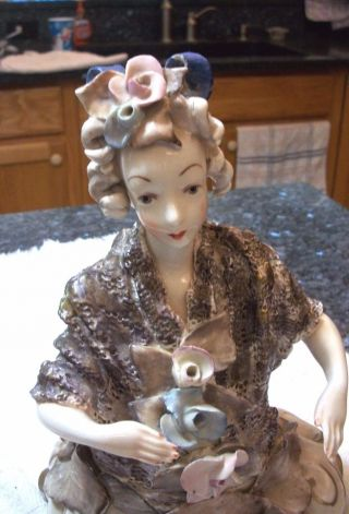 Vintage Cordey Half Figurine - Lady With Lace Shawl And Hand Up - Nr photo