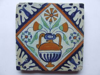 A Very Old Dutch Delft Tile With Flower - Pot In Diamond, , photo