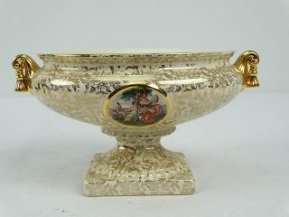 Antique Romantic Gilt English Empire Lustre Ware England Table Centerpiece Bowl photo