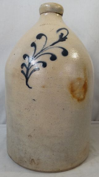 19thc Antique Cobalt Dec Edmands & Co Charlestown Mass Primitive Stoneware Jug photo