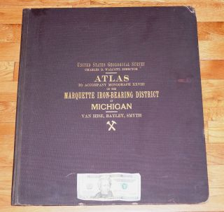 Fine Us Geological Survey Marquette Iron Bearing District Mi Van Hise 1896 Huge photo