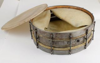 "Antique 15"" Duplex Snare Drum Belonged To Bert Cole - Minstrel/vaudeville/circus photo"