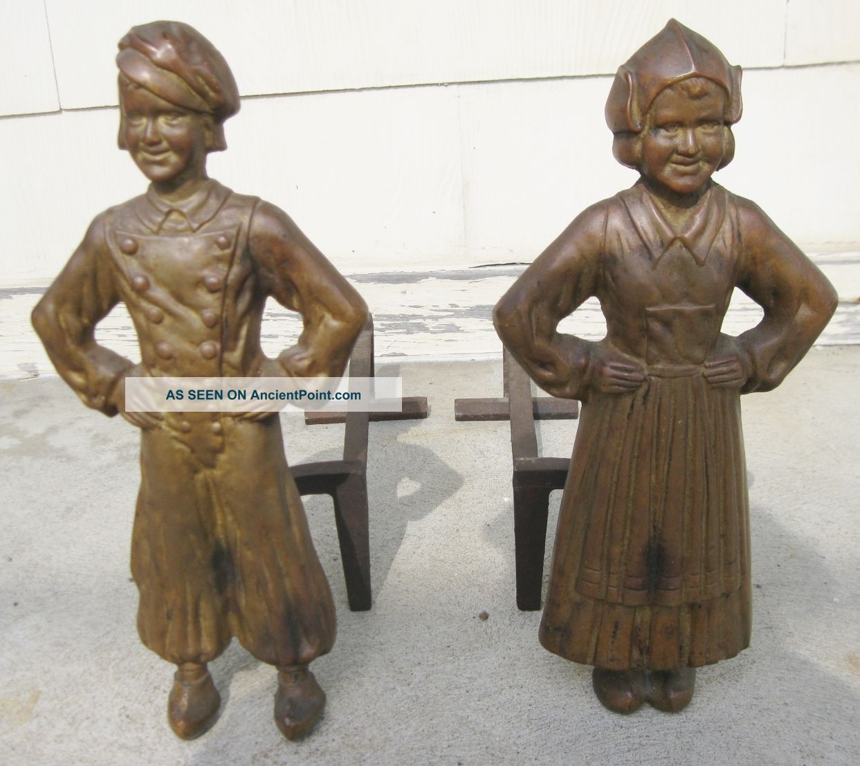 Antique Vintage C1910 Brass And Cast Iron Dutch Boy And Girl Andirons Fire Dogs Hearth Ware photo