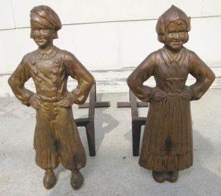 Antique Vintage C1910 Brass And Cast Iron Dutch Boy And Girl Andirons Fire Dogs photo