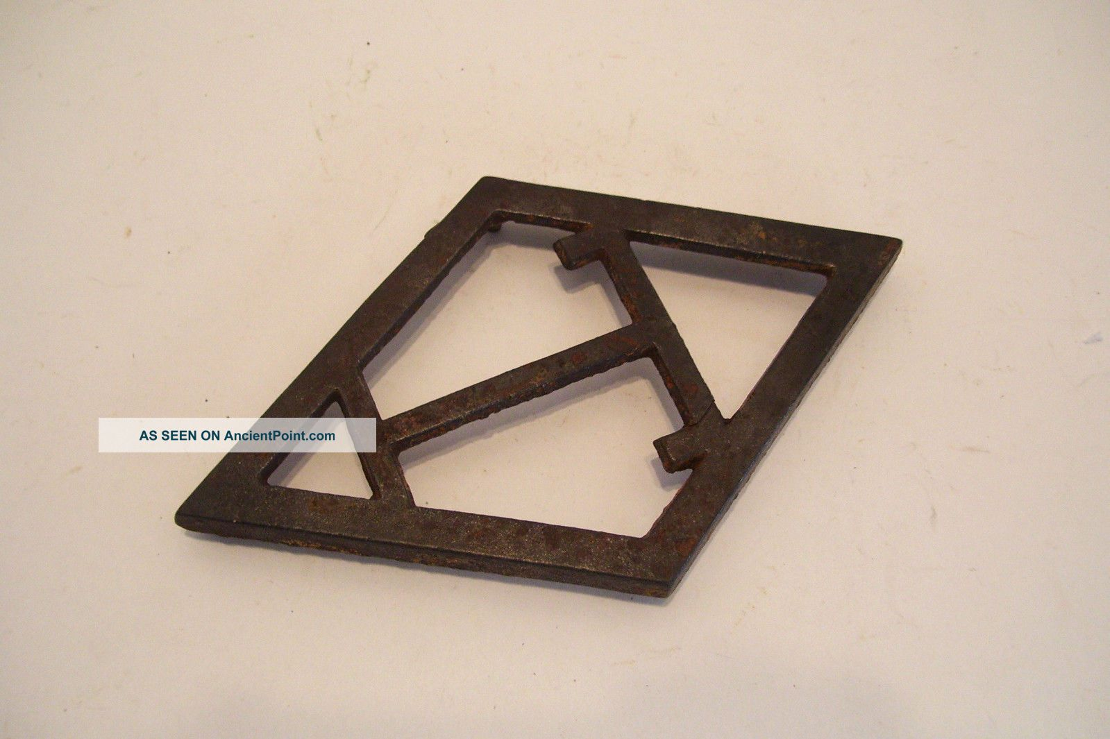 Antique Cast Iron Trivet T Diamond Shape - Eatons Or Taylor Forbes Guelph Trivets photo
