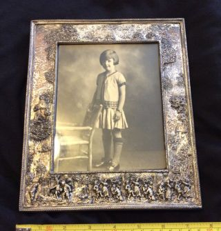 Antique Barbour Victorian Repousse Frame Silver Plate Photo Vtg Very Ornate Old photo