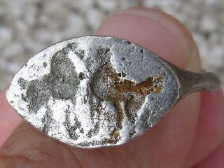 Silver Ancient Roman Ring With2 Horces Facing Each Other,  Rare photo