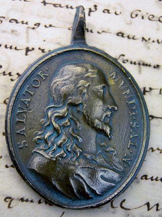 Antique 17th Jesus Christ & Virgin Mary Spanish Colonial Carmelite Bronze Medal photo